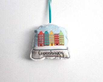 Copenhagen snow globe ornament: plush ornament- hostess gift under 10
