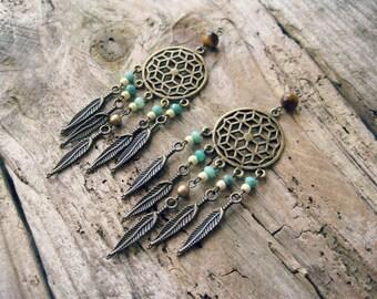 Dream Catcher Earrings / Feather Dream Catcher, Pastel Beaded Earrings, Statement Earrings, Long Earrings, Native American Jewelry, Bohemian