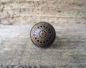 Brown Boho Mandala Ring  // Earthy Jewelry, Adjustable Ring, Mandala Jewelry, Cabochon Ring, Bohemian Jewelry, Boho Ring