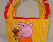 Little Girls Yellow & White Polka Dot Bag with Peppa Pig Embroidery Design