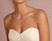 Bridal Rhinestone Necklace Crystal Necklace Shoulder Necklace Wedding Jewelry Bridal Jewelry Wedding Dress Accessory SN001LX