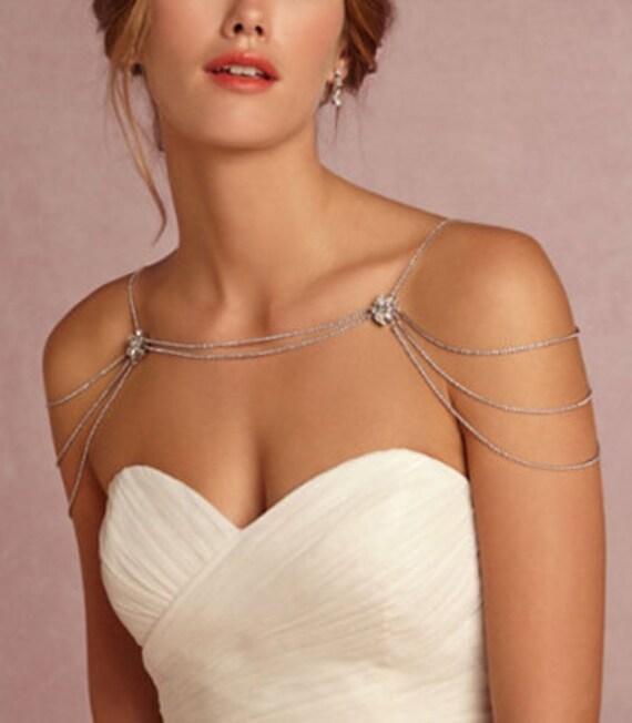 Bridal rhinestone necklace crystal necklace shoulder by for Bracelet for wedding dress