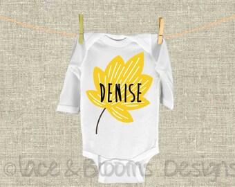 Custom Fall Onsie - Custom Name Onsie  - Flower Onsie  - Yellow  - Baby Shower Gift  - Baby Clothing  - Photo Prop
