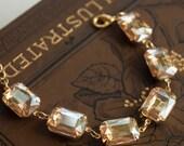 Bridal Jewelry Chain Bracelet Wedding Jewelry Bridal Bracelet Vintage Jewelry Champagne Color Tennis Bracelet Statement Jewelry