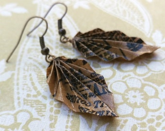Origami Leaf Earrings // Brown Paper Bag