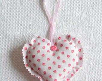 Cottage Chic Fabric Heart Ornament Sweet Pink Rosebuds Mother's Day  europeanstreetteam