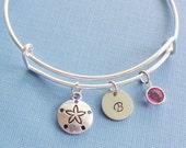 Sand Dollar Bracelet, Silver Bangle, Sanddollar Charm, Ocean,Sea, Summer,Personalized,Expandable, Swarovski Birthstone, BFF Friend, Birthday