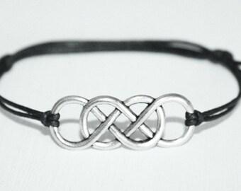 Infinity Bracelet or Anklet in Silver, Double Infinity Bracelet, Eternity Bracelet, Karma Jewelry, Man Gift, Unisex Bracelet, BFF Friend