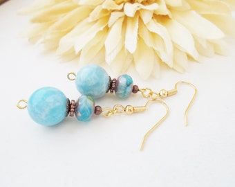 Chalcedony Earrings, Gift for Wife, Best Selling Items, Aqua Earrings, Something Blue for Bride, Boho Beaded Earrings, Light Blue Earrings