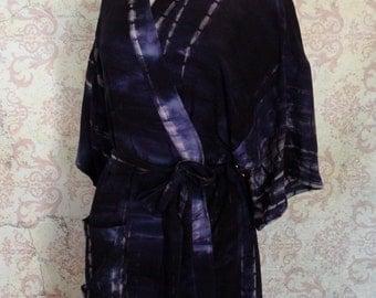 Batik Dressing Robe in Blue, Purple // Rayon, Tye Dye