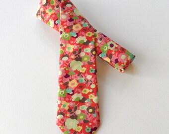 Mod Floral Skinny Tie in Multi Color // Cotton Necktie