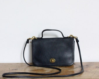 Vintage Coach Bag // Coach Casino 9924 Crosbody Bag Dark Navy Leather Handbag Satchel