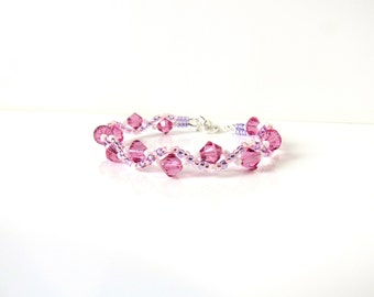 Girls Bracelet, Pink Bracelet, Childrens Bracelet, Crystal Bracelet, Gift for Kids, Gift for Tween, Childrens Jewelry, Swarovski Jewelry