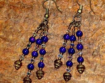 Purple & Brass Earrings, Victorian Dangle Earrings, Hand Made