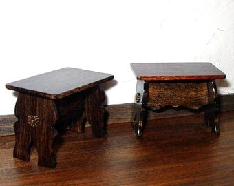 Medieval Stools, Pair of Trestle Stools, Dollhouse Miniature 1/12 Scale, Hand Made