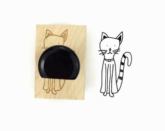Rubber Stamp Striped Tail Cat - Hand Drawn Kitty Cat Stamp
