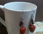 red human heart handmade earrings horror jewelry unusual quirky fun heart earrings horror jewelry Valentines Day gift jewelry ooak earrings