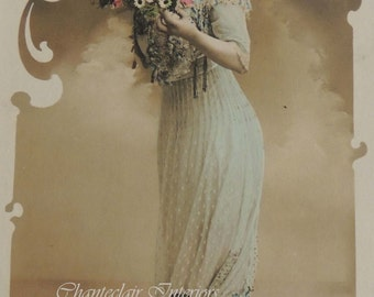 French Postcard / Antique French Postcard / Girl with Flowers Postcard /Hand Tinted Postcard / Young Lady with Flowers Postcard