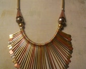 Egyptian Cleopatra Bib Necklace - Multi Finish Paddle Pins with Beautiful Beads and Tubing - Amazing Tribal Style