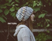 Chunky Puff Stitch Crochet Hat Pattern, Super Easy Crochet Hat PATTERN PDF Download,  Simple Crochet Slouchy Beanie Adult Hat Pattern