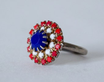 50% OFF SALE / 1970s vintage ring / red white and blue glass costume ring