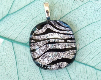 Glass pendant ~ Small dichroic necklace Melted fused glass jewelry Artisan made jewellery Handmade pendants Necklace, Gift for her Women