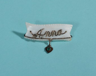 Antique 1910s Anna Name Brooch - Wire Work Pin - Carved Mother of Pearl