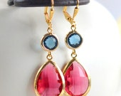 Ruby Red and Sapphire Blue Bridesmaid Earrings. Jewel Fashion Earrings. Navy Blue and Red Dangle Earrings. Drop Earrings. Christmas Gift.