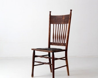FREE SHIP  antique spindle back chair with leather seat, wood dining chair