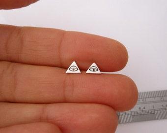 Illuminati EYE sterling silver triangle stud earrings