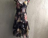 Ralph Lauren Polo Silk Dress - Sheer Dress - Grunge Dress Floral Silk Dress