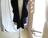 SALE Shearling Vest in Blue Ink with Shimmer Rock Chick Edge - Leather Tassel Ties - Ready to Ship.  30% off  original price