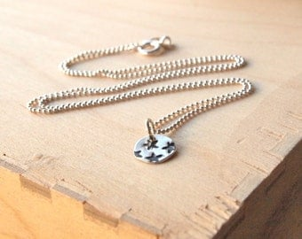 Tiny star necklace, Stars Stamp Disc Pendant, Sterling Silver Star Necklace with Chain. Silver disc pendant