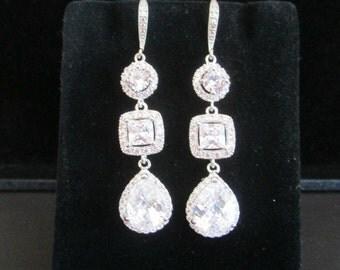 Bridal Earrings CZ Bridal Earrings Cushion Cut Earrings Wedding Earrings  Long Bridal Earrings Halo Teardrop Earrings Chandelier Earrings