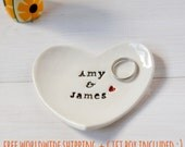 Personalised Anniversary Gift Ring Dish custom porcelain heart wedding ring bearer bowl