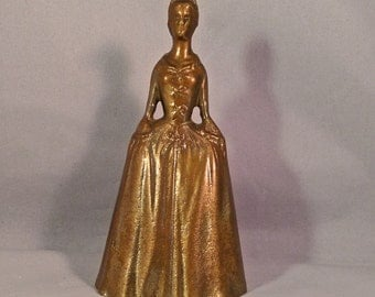 Mid Century Colonial/Victorian Inspired Gold Toned Brass Bell / Colonial Woman Dinner Bell / Virginia Metalcrafters