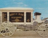 Bucket of Blood Dead Wagon- 1950s Vintage Postcard- Virginia City, Nevada- Boot Hill Special- Horse-Drawn Hearse- Mirro-Krome Paper Ephemera