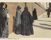Religious Sects of Lancaster County- 1950s Vintage Postcard- Pennsylvania Amish- Traditional Clothing- Souvenir Card- Paper Ephemera