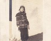 Playtime Pilot- 1940s Vinatge Photograph- Leather Aviator Helmet- Boy in Bomber Hat- Flight Goggles- Found Photo- Vernacular- Paper Ephemera