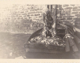 Wiesbaden Fishermen- 1930s Vintage Photograph- SET of 4- Fishing Photos- German Fisherman- Snapshots- Paper Ephemera