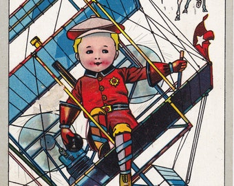 Flying Machine- 1910s Antique Postcard- New Year Card- Artist Signed- C Bunnell- Airplane Art- Edwardian Decor- Paper Ephemera- Used