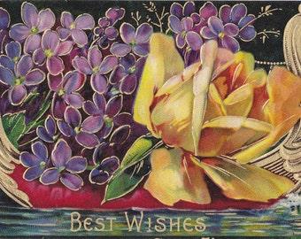 Viking Boat Floral- 1910s Antique Postcard- Golden Longboat- Edwardian Flowers- Violets and Yellow Rose- Paper Ephemera- Used