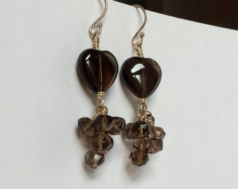 Smokey Quartz Earrings - Gemstone Heart Earrings - Smokey Quartz Dangle Earrings - Chocolate Brown Jewelry - alteredelementsjewel