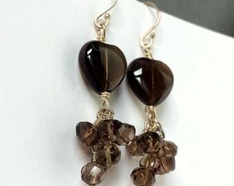 Smokey Quartz Dangle Earrings - Gemstone Heart Earrings - Smokey Quartz Heart - Chocolate Brown Smokey Quartz Jewelry - alteredelementsjewel