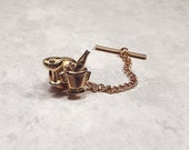 Vintage Tie Tack, Beer Wine Martini Ice Bucket, Bartender Gift, Mid Century, Gold Tone, Party Tie Tack, Mens Gift, Skinny Tie Jewelry