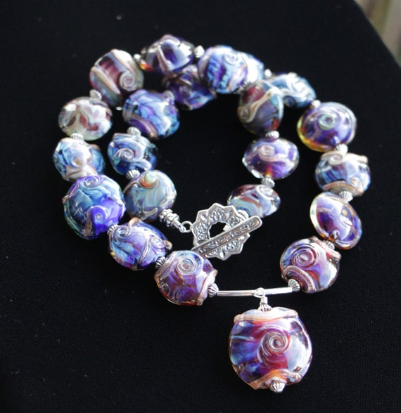 Silver Glass Lentil Lampworking Glass Beaded Necklace