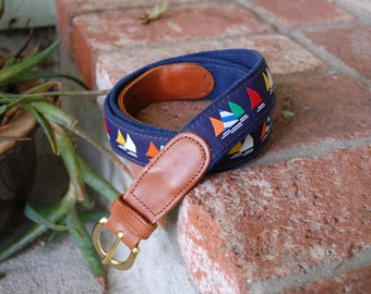 Vintage Mens Size 42 Medium Large Belt Belts Preston Leather Products Nautical Sailor Sailing Theme Colorful Blue and Brown New England USA