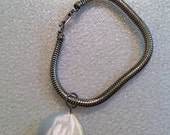 """Silver Vintage Charm Bracelet with white moonglow Charm 7"""""""