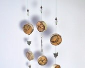 Silent Wind Chime Mobile,  Unique Wood Round Wind Chime, Birch Wood Rounds