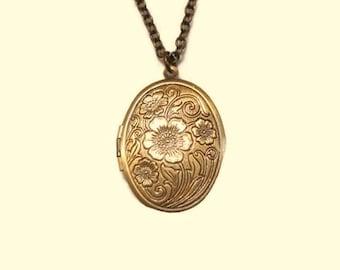 Floral Locket Necklace Flower Locket Jewelry Pendant Antique Bronze